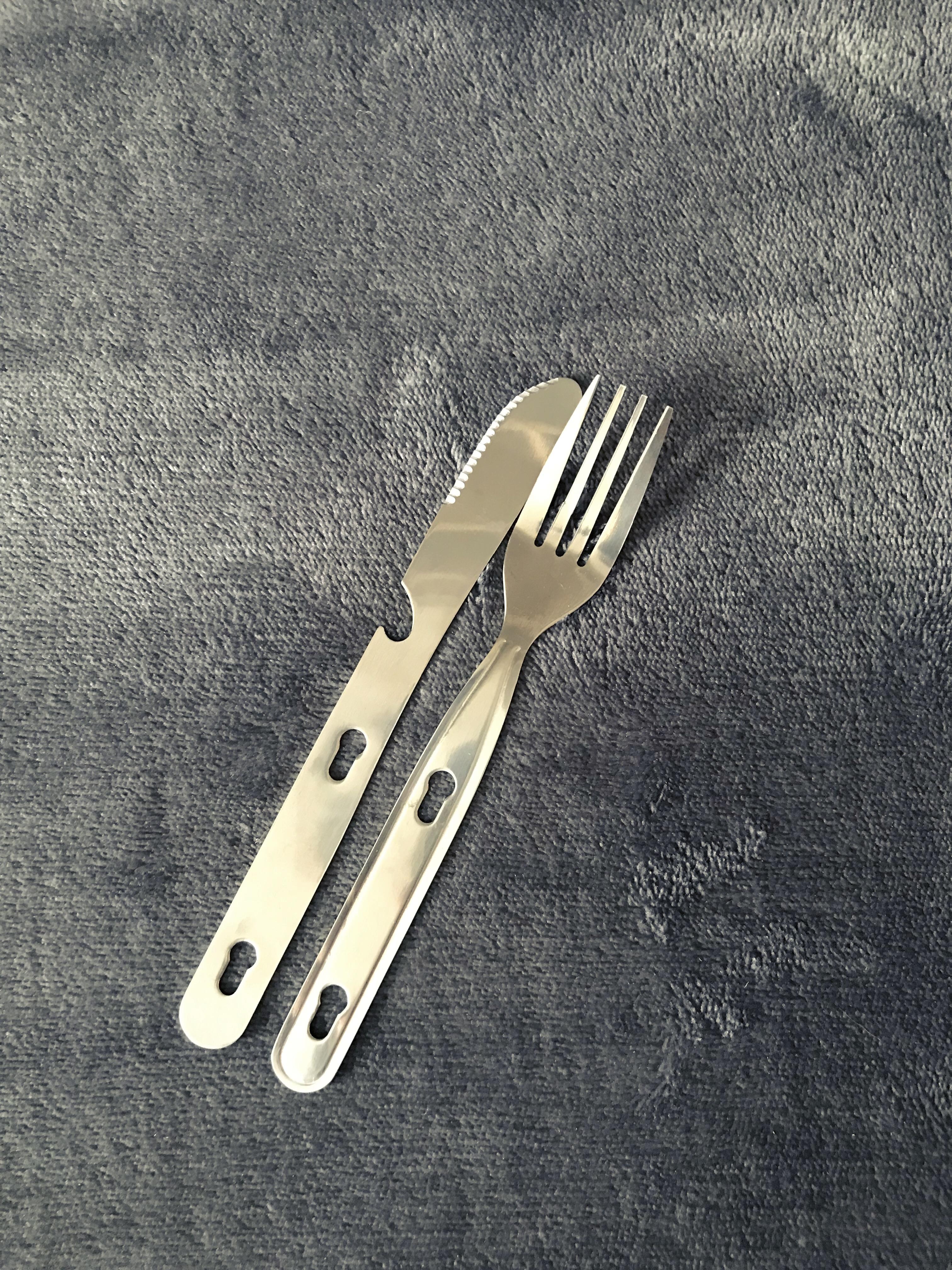 Metal cutlery.